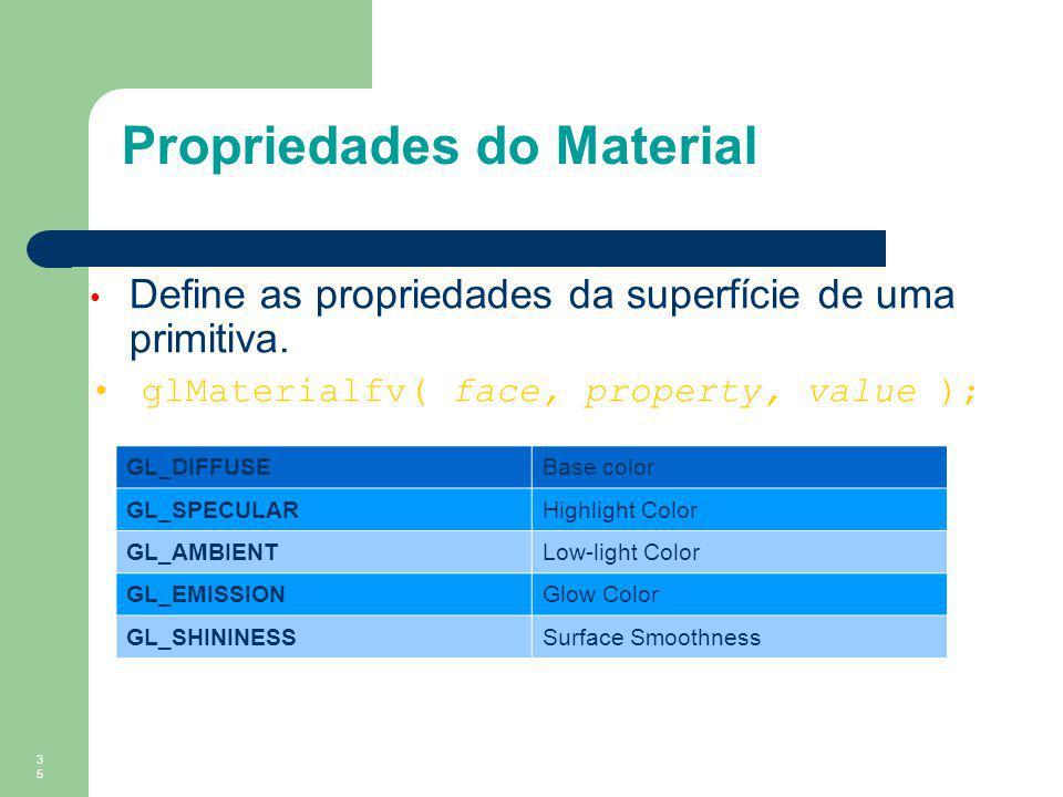 35 Propriedades do Material Define as propriedades da superfície de uma primitiva. glMaterialfv( face, property, value ); GL_DIFFUSEBase color GL_SPEC