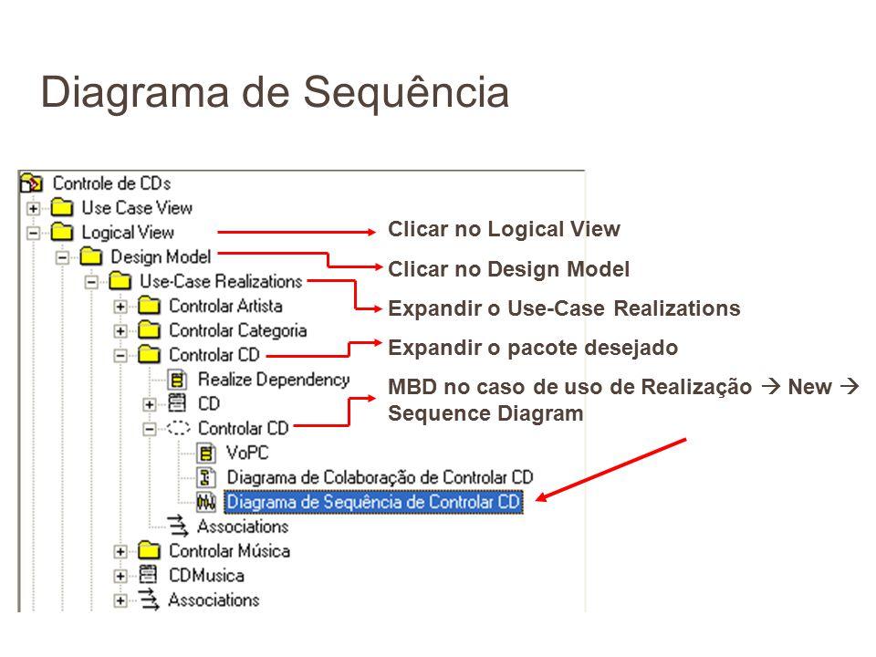 Clicar no Logical View Clicar no Design Model Expandir o Use-Case Realizations Expandir o pacote desejado MBD no caso de uso de Realização  New  Seq