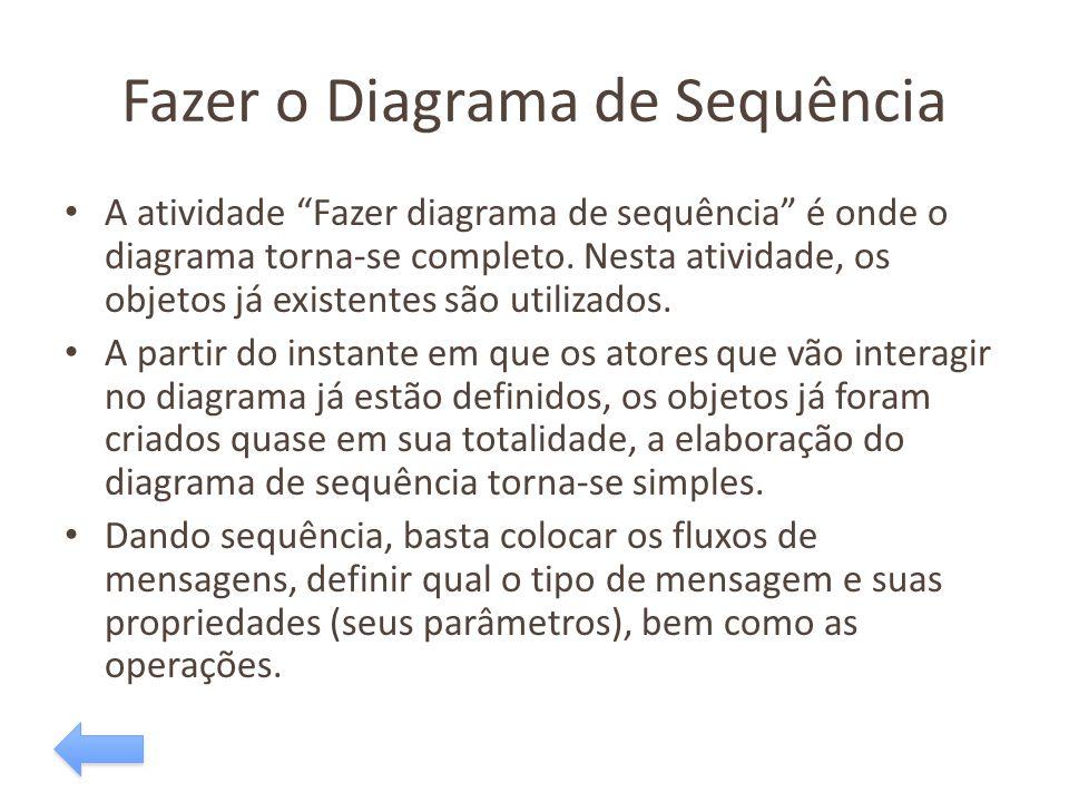 """Fazer o Diagrama de Sequência A atividade """"Fazer diagrama de sequência"""" é onde o diagrama torna-se completo. Nesta atividade, os objetos já existentes"""