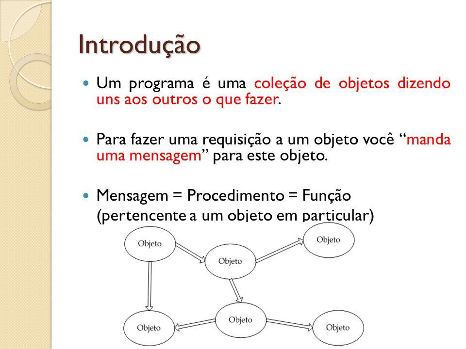 """Introdução Um programa é uma coleção de objetos dizendo uns aos outros o que fazer. Para fazer uma requisição a um objeto você """"manda uma mensagem"""" pa"""