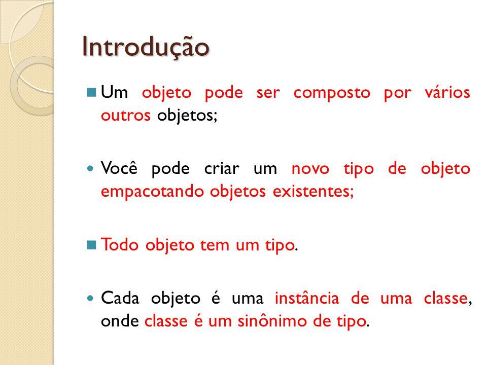 Introdução Um objeto pode ser composto por vários outros objetos; Você pode criar um novo tipo de objeto empacotando objetos existentes; Todo objeto t