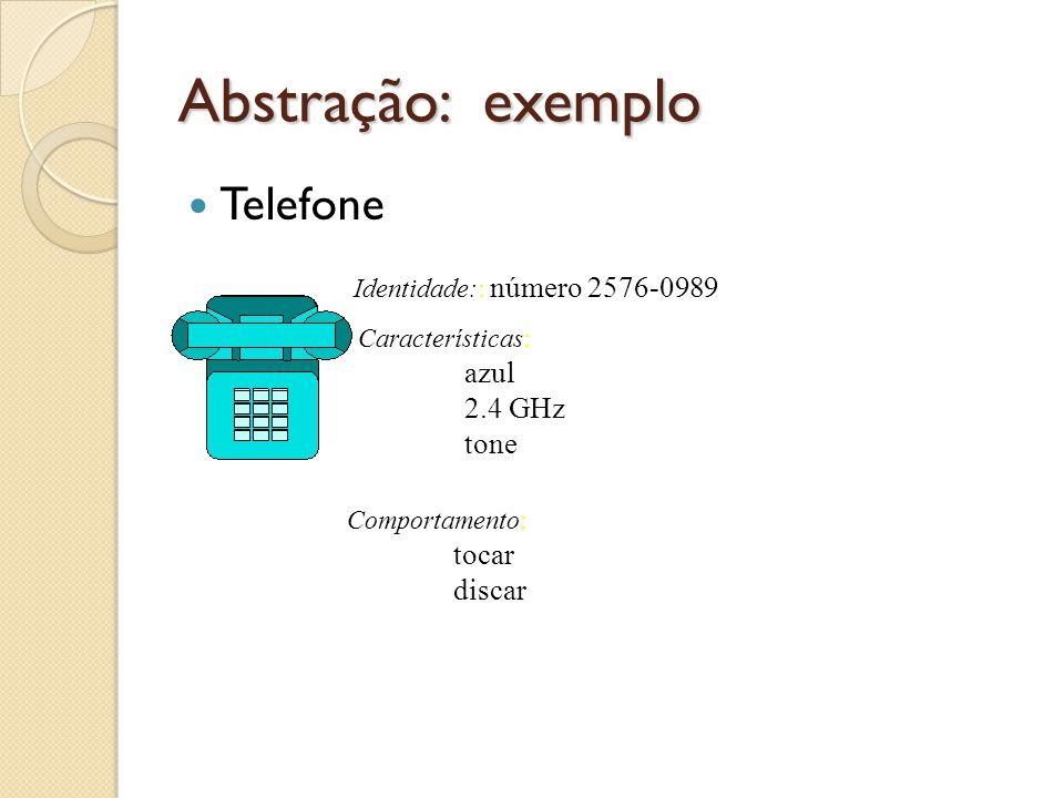 Abstração: exemplo Telefone Identidade:: número 2576-0989 Características: azul 2.4 GHz tone Comportamento: tocar discar