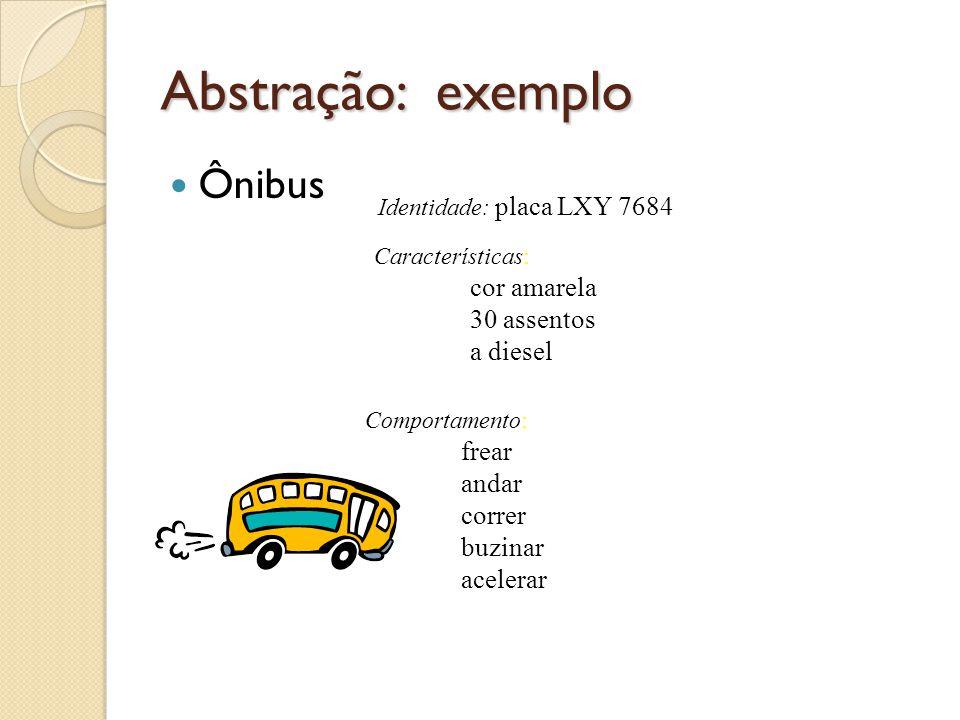 Abstração: exemplo Ônibus Identidade: placa LXY 7684 Características: cor amarela 30 assentos a diesel Comportamento: frear andar correr buzinar acele
