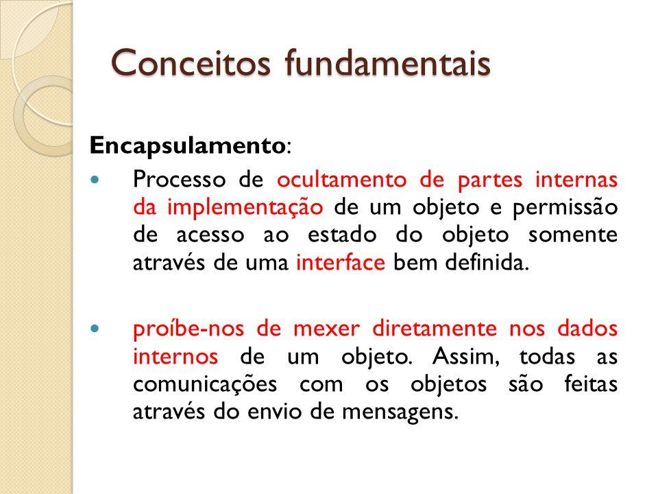 Encapsulamento: Processo de ocultamento de partes internas da implementação de um objeto e permissão de acesso ao estado do objeto somente através de