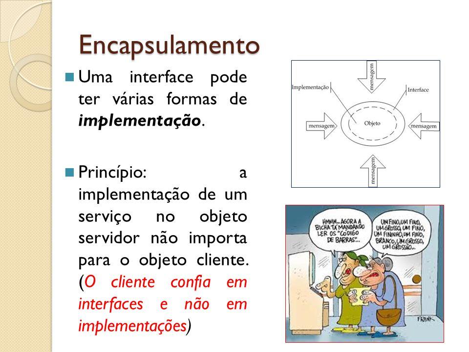 Encapsulamento Uma interface pode ter várias formas de implementação. Princípio: a implementação de um serviço no objeto servidor não importa para o o