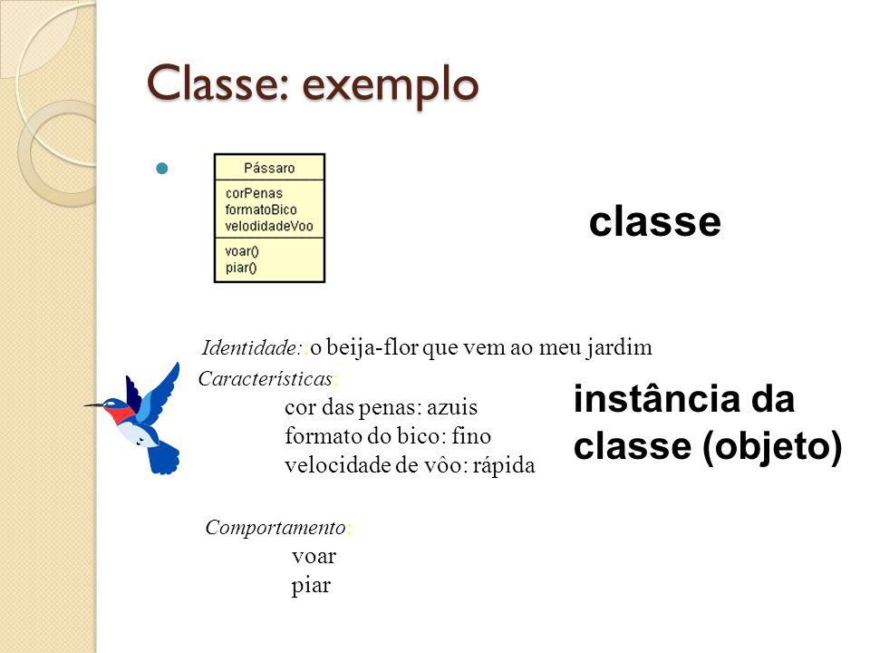 Classe: exemplo Características: cor das penas: azuis formato do bico: fino velocidade de vôo: rápida Comportamento: voar piar Identidade:: o beija-fl