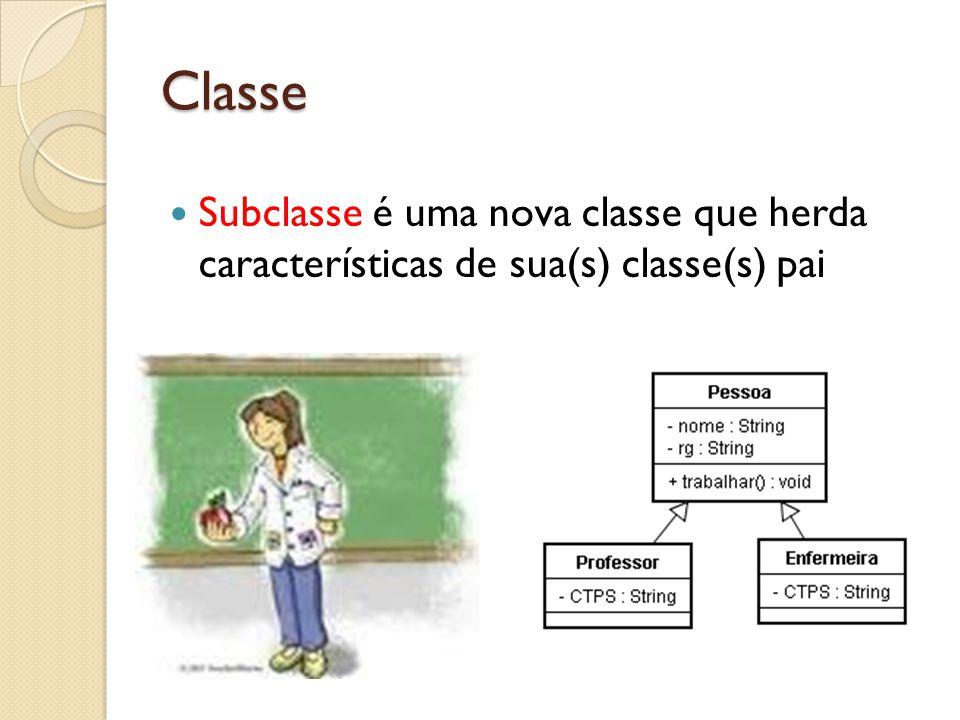 Classe Subclasse é uma nova classe que herda características de sua(s) classe(s) pai