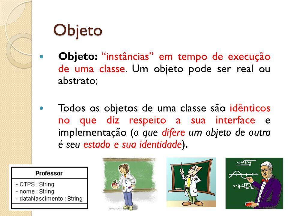 """Objeto: """"instâncias"""" em tempo de execução de uma classe. Um objeto pode ser real ou abstrato; Todos os objetos de uma classe são idênticos no que diz"""