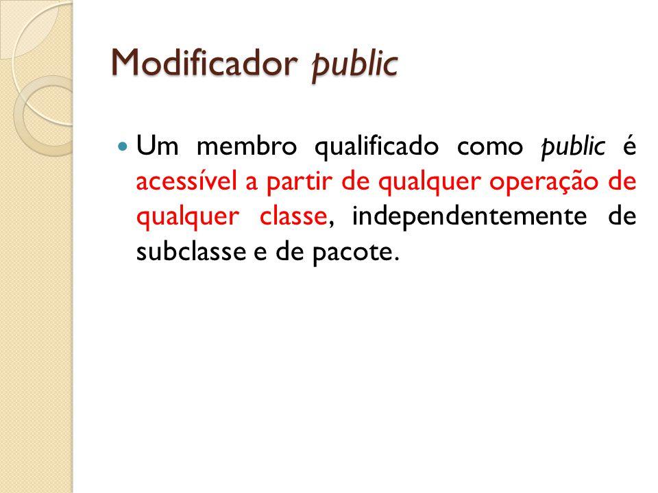 Modificador public Um membro qualificado como public é acessível a partir de qualquer operação de qualquer classe, independentemente de subclasse e de