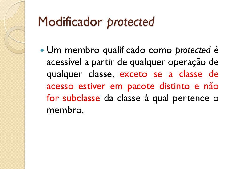 Modificador protected Um membro qualificado como protected é acessível a partir de qualquer operação de qualquer classe, exceto se a classe de acesso