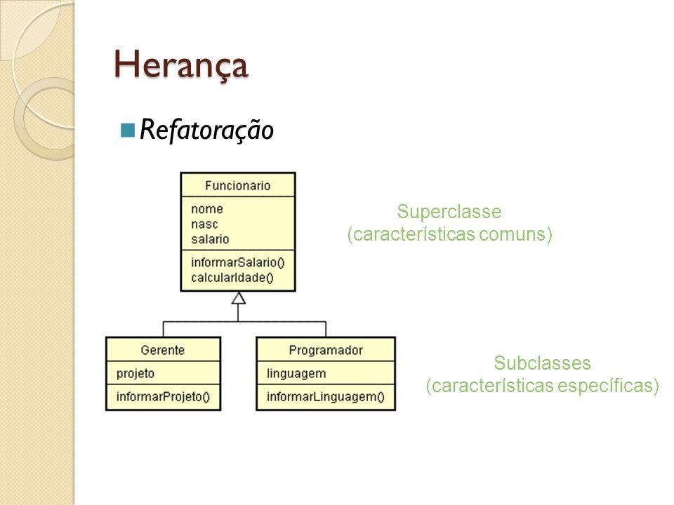 Herança Refatoração Superclasse (características comuns) Subclasses (características específicas)