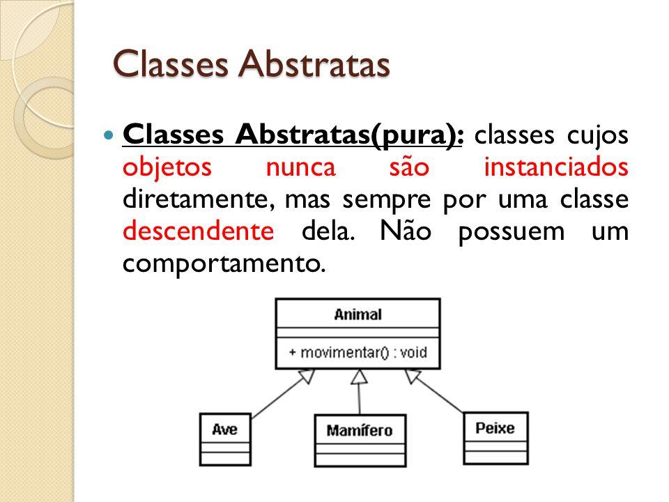 Classes Abstratas(pura): classes cujos objetos nunca são instanciados diretamente, mas sempre por uma classe descendente dela. Não possuem um comporta