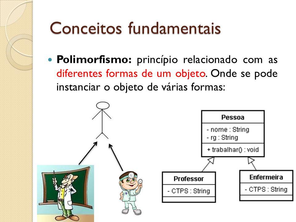 Polimorfismo: princípio relacionado com as diferentes formas de um objeto. Onde se pode instanciar o objeto de várias formas: Conceitos fundamentais