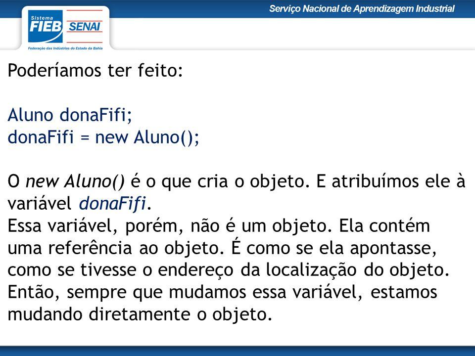 Poderíamos ter feito: Aluno donaFifi; donaFifi = new Aluno(); O new Aluno() é o que cria o objeto.