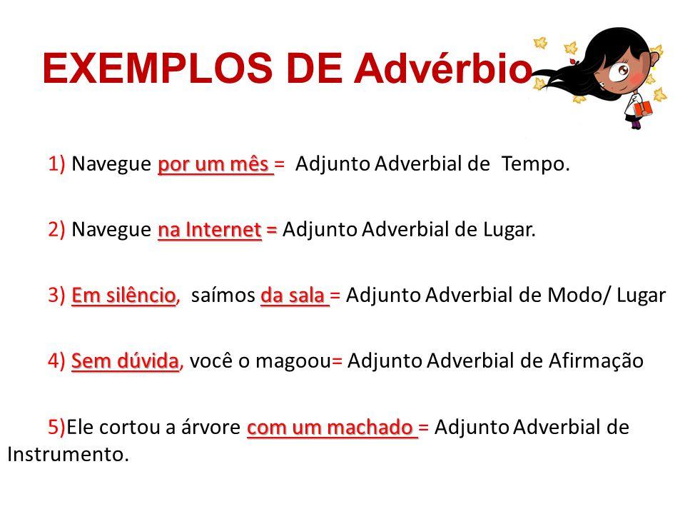 EXEMPLOS DE Advérbio por um mês 1) Navegue por um mês = Adjunto Adverbial de Tempo. na Internet = 2) Navegue na Internet = Adjunto Adverbial de Lugar.
