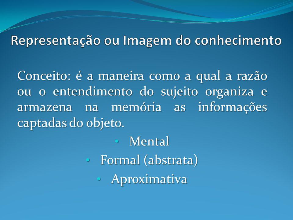 Conceito: é a maneira como a qual a razão ou o entendimento do sujeito organiza e armazena na memória as informações captadas do objeto. Mental Mental