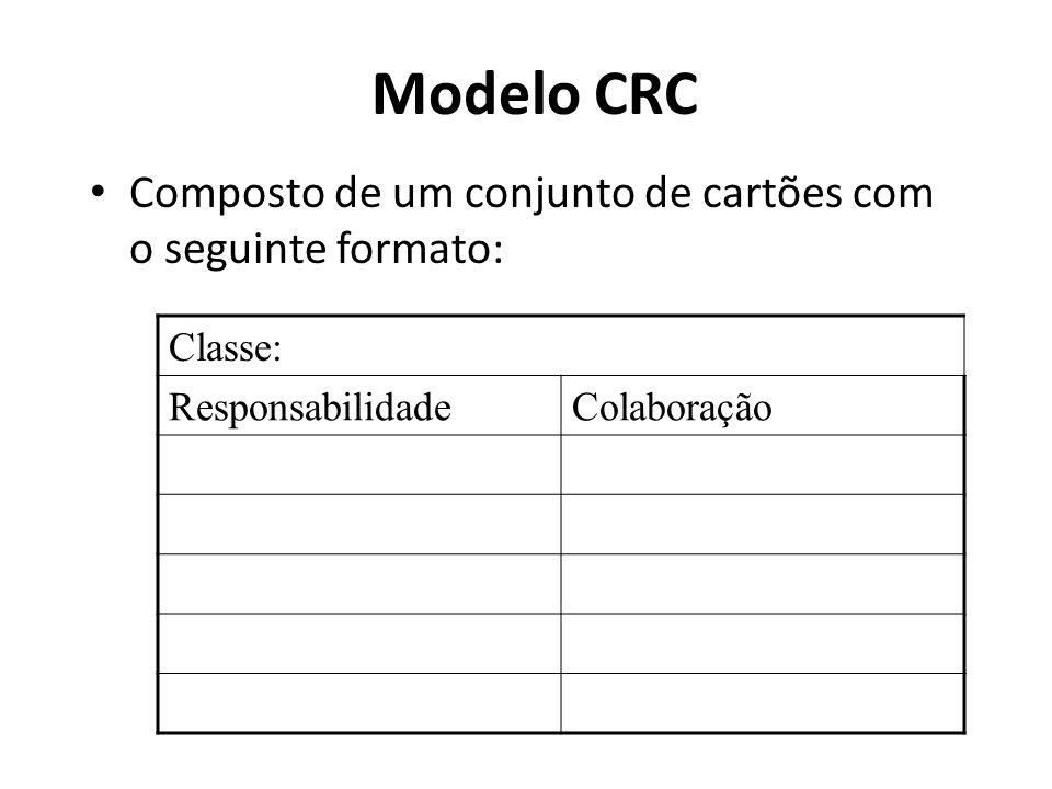 Modelo CRC Composto de um conjunto de cartões com o seguinte formato: Classe: ResponsabilidadeColaboração