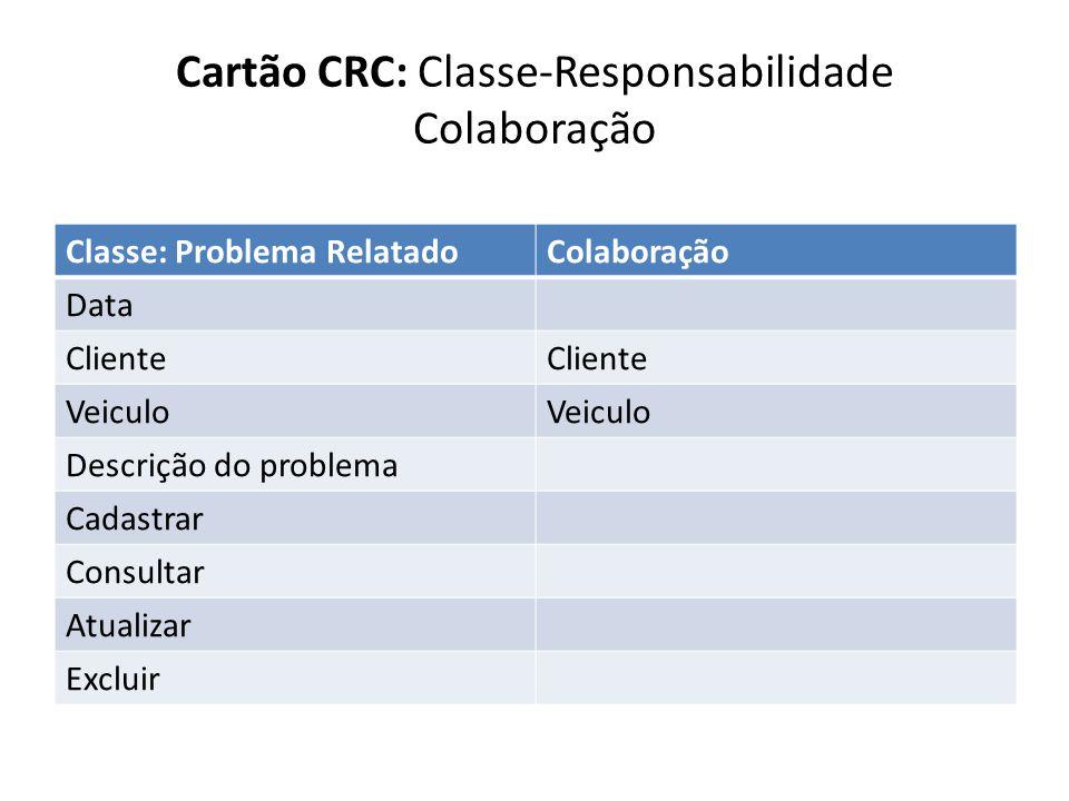 Classe: Problema RelatadoColaboração Data Cliente Veiculo Descrição do problema Cadastrar Consultar Atualizar Excluir Cartão CRC: Classe-Responsabilid