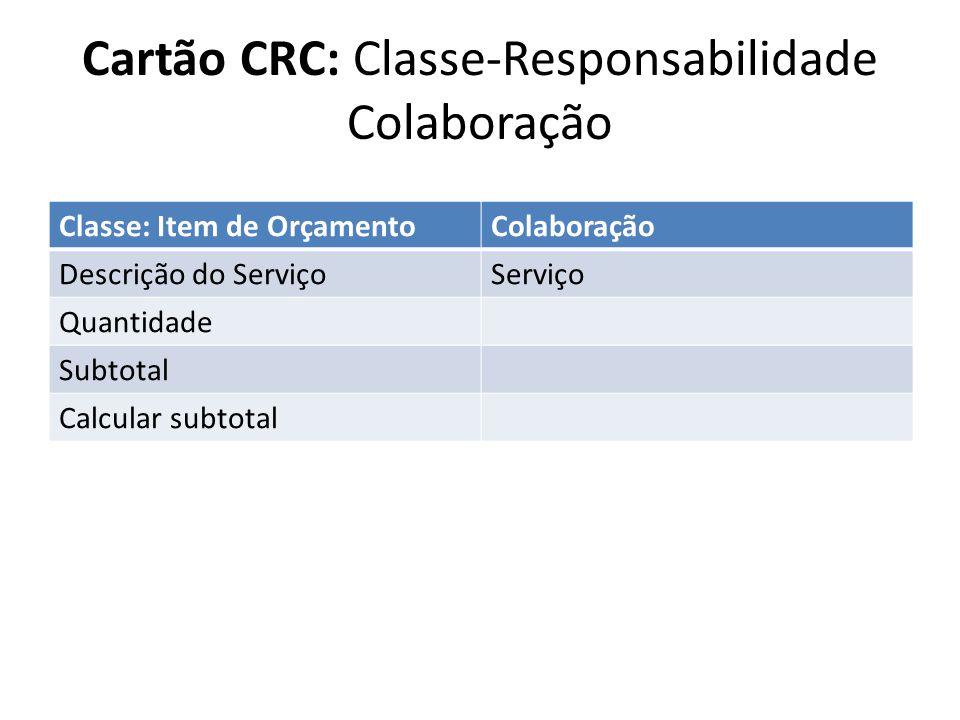 Cartão CRC: Classe-Responsabilidade Colaboração Classe: Item de OrçamentoColaboração Descrição do ServiçoServiço Quantidade Subtotal Calcular subtotal