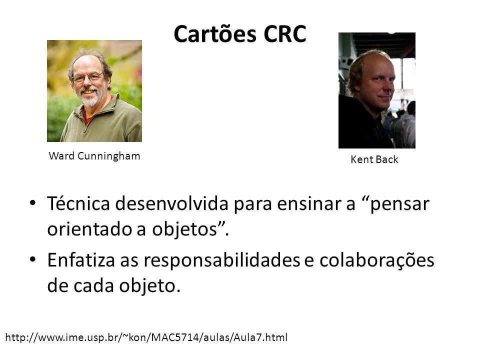 """Cartões CRC Técnica desenvolvida para ensinar a """"pensar orientado a objetos"""". Enfatiza as responsabilidades e colaborações de cada objeto. http://www."""