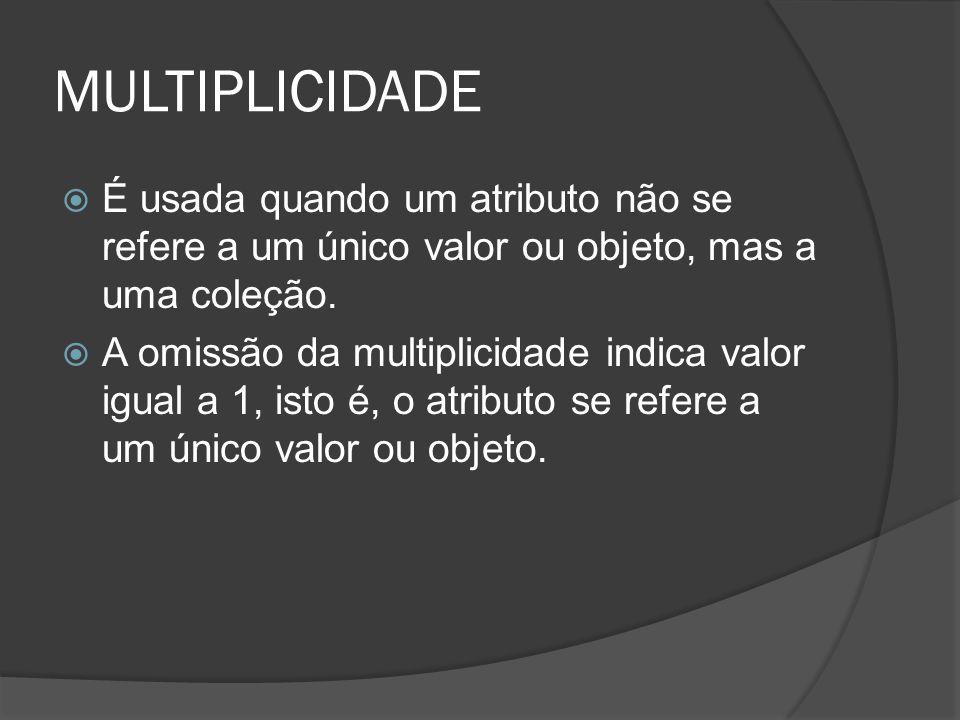 MULTIPLICIDADE  É usada quando um atributo não se refere a um único valor ou objeto, mas a uma coleção.  A omissão da multiplicidade indica valor ig