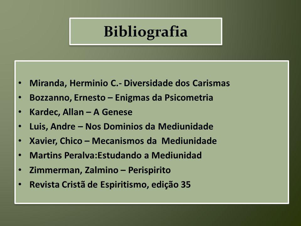 Bibliografia Miranda, Herminio C.- Diversidade dos Carismas Bozzanno, Ernesto – Enigmas da Psicometria Kardec, Allan – A Genese Luis, Andre – Nos Domi