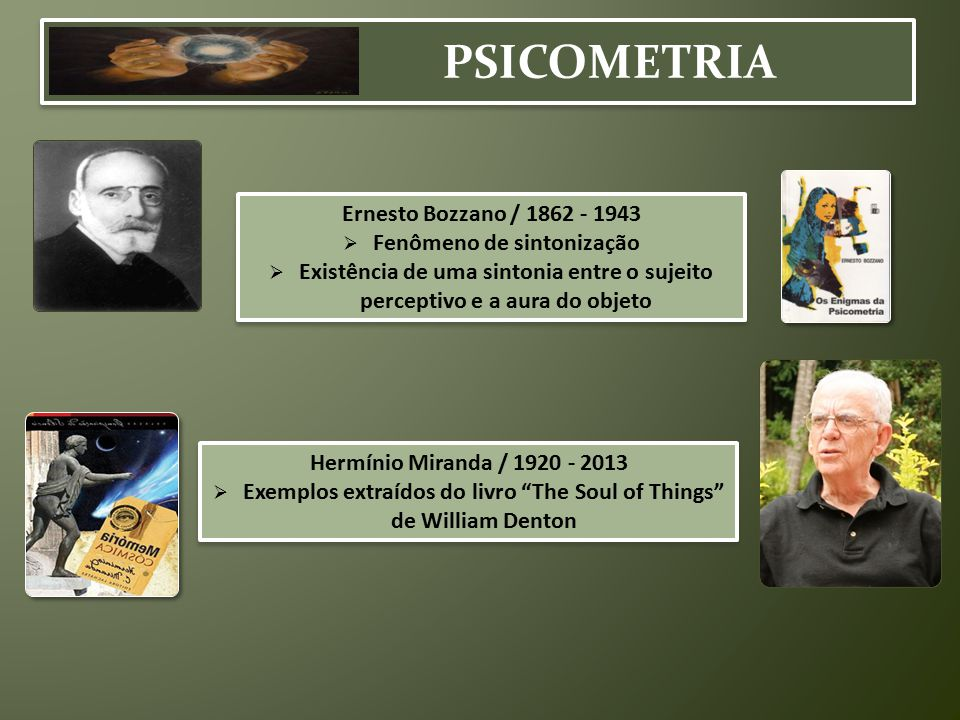 PSICOMETRIA Ernesto Bozzano / 1862 - 1943  Fenômeno de sintonização  Existência de uma sintonia entre o sujeito perceptivo e a aura do objeto Ernest