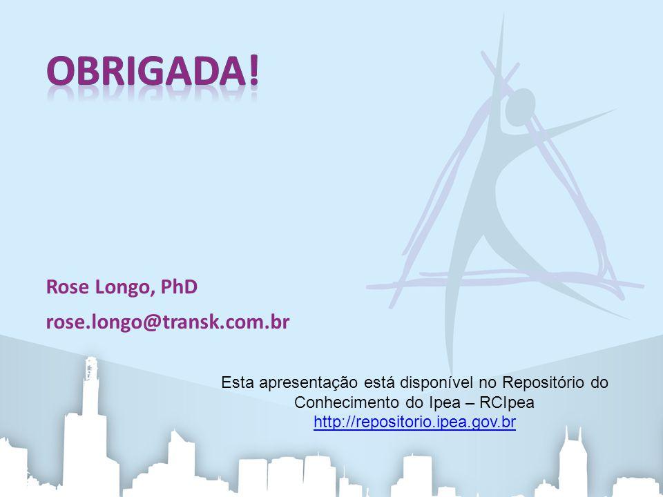Rose Longo, PhD rose.longo@transk.com.br Esta apresentação está disponível no Repositório do Conhecimento do Ipea – RCIpea http://repositorio.ipea.gov.br