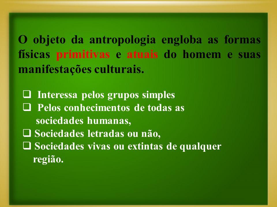 O objeto da antropologia engloba as formas físicas primitivas e atuais do homem e suas manifestações culturais.  Interessa pelos grupos simples  Pel