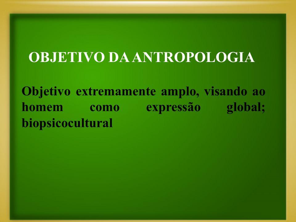OBJETIVO DA ANTROPOLOGIA Objetivo extremamente amplo, visando ao homem como expressão global; biopsicocultural