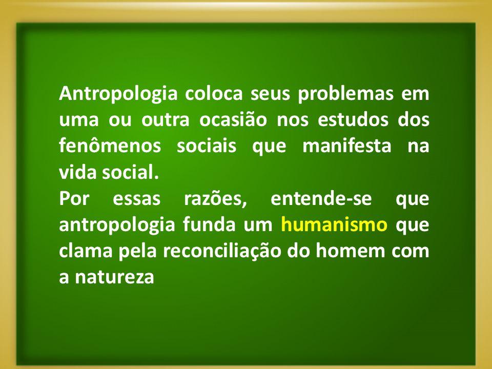 Antropologia coloca seus problemas em uma ou outra ocasião nos estudos dos fenômenos sociais que manifesta na vida social. Por essas razões, entende-s