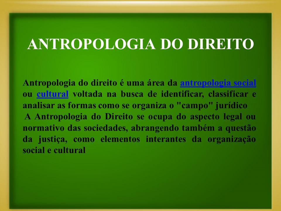 ANTROPOLOGIA DO DIREITO Antropologia do direito é uma área da antropologia social ou cultural voltada na busca de identificar, classificar e analisar