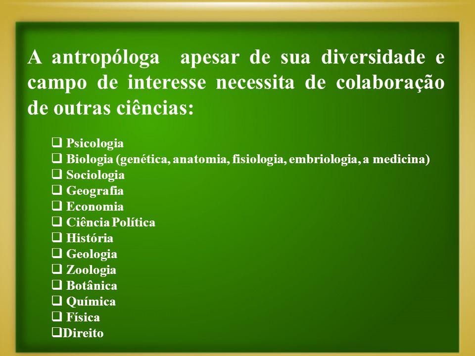 A antropóloga apesar de sua diversidade e campo de interesse necessita de colaboração de outras ciências:  Psicologia  Biologia (genética, anatomia,