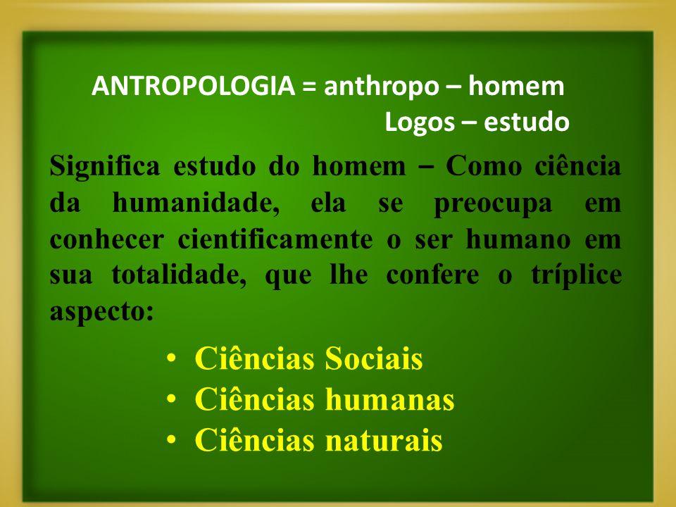 ANTROPOLOGIA = anthropo – homem Logos – estudo Significa estudo do homem – Como ciência da humanidade, ela se preocupa em conhecer cientificamente o s
