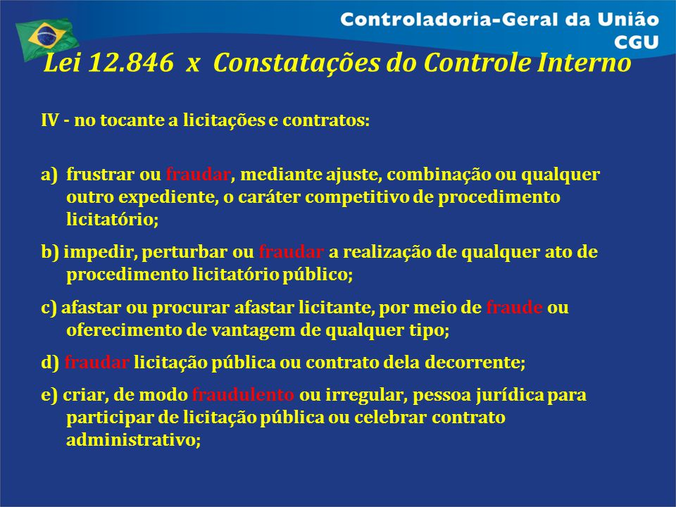 Lei 12.846 x Constatações do Controle Interno IV - no tocante a licitações e contratos: a)frustrar ou fraudar, mediante ajuste, combinação ou qualquer