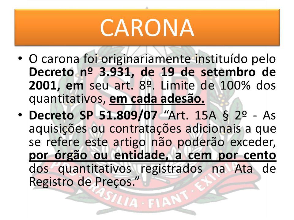 CARONA O carona foi originariamente instituído pelo Decreto nº 3.931, de 19 de setembro de 2001, em seu art. 8º. Limite de 100% dos quantitativos, em