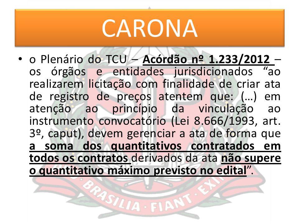 """CARONA o Plenário do TCU – Acórdão nº 1.233/2012 – os órgãos e entidades jurisdicionados """"ao realizarem licitação com finalidade de criar ata de regis"""