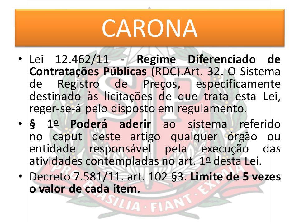 CARONA Lei 12.462/11 - Regime Diferenciado de Contratações Públicas (RDC).Art. 32. O Sistema de Registro de Preços, especificamente destinado às licit