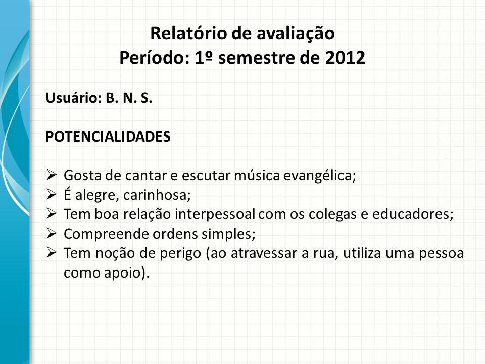 Relatório de avaliação Período: 1º semestre de 2012 Usuário: B.