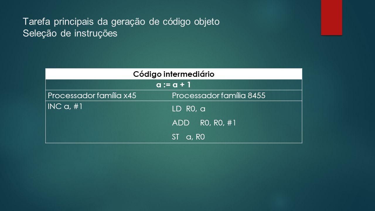 Tarefa principais da geração de código objeto Seleção de instruções Código intermediário a := a + 1 Processador família x45Processador família 8455 IN