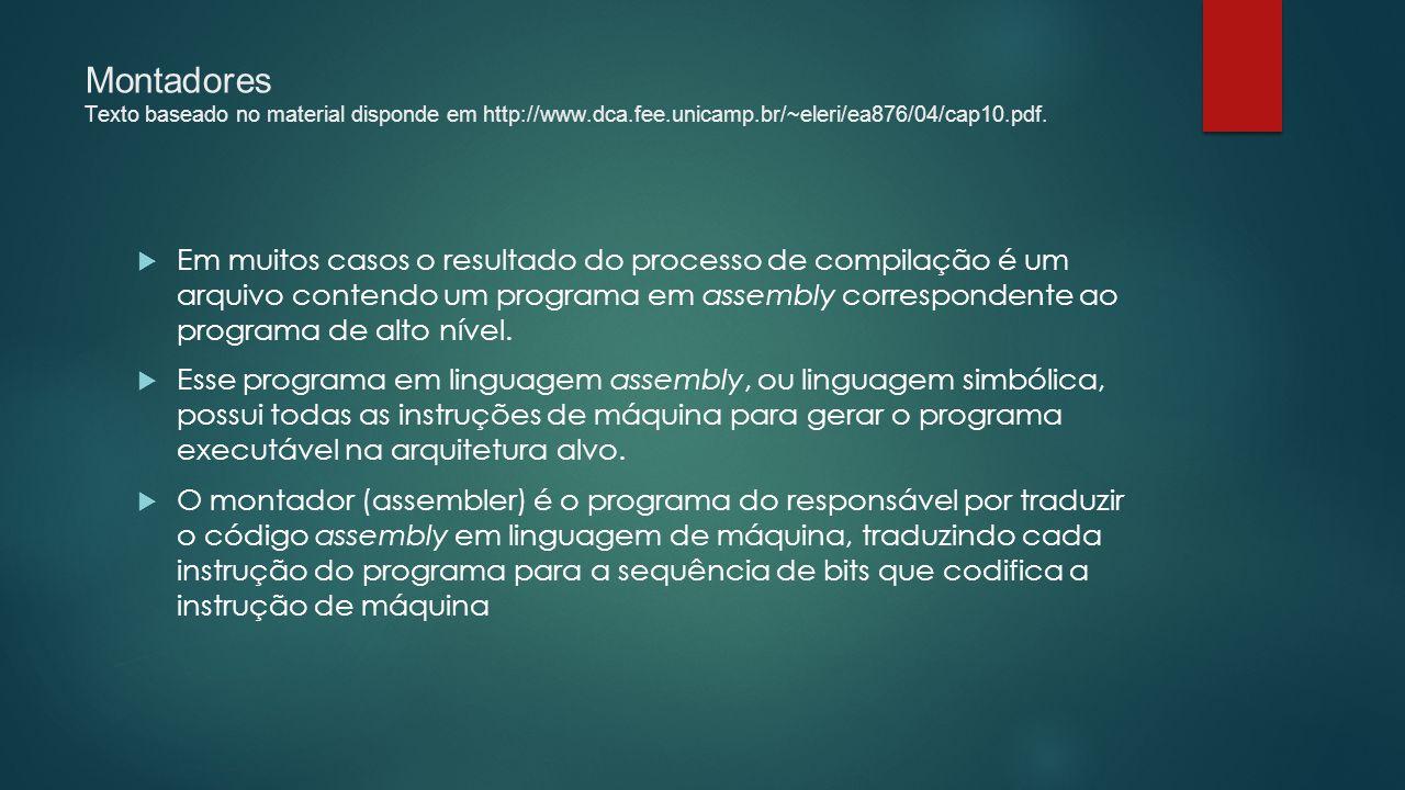 Montadores Texto baseado no material disponde em http://www.dca.fee.unicamp.br/~eleri/ea876/04/cap10.pdf.  Em muitos casos o resultado do processo de