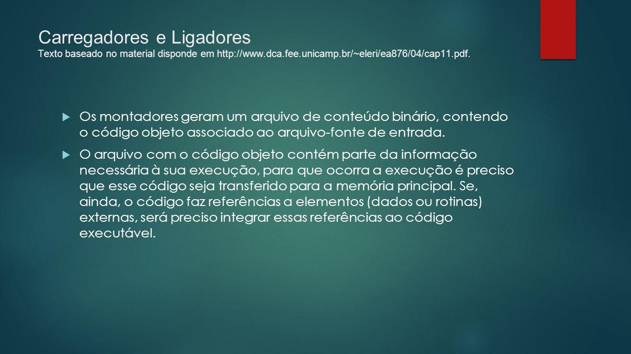 Carregadores e Ligadores Texto baseado no material disponde em http://www.dca.fee.unicamp.br/~eleri/ea876/04/cap11.pdf.  Os montadores geram um arqui