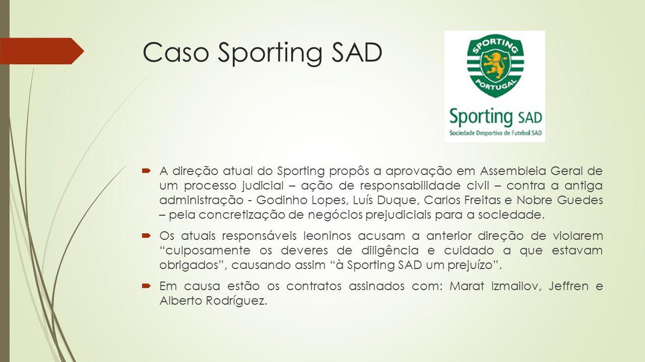Caso Sporting SAD  A direção atual do Sporting propôs a aprovação em Assembleia Geral de um processo judicial – ação de responsabilidade civil – cont