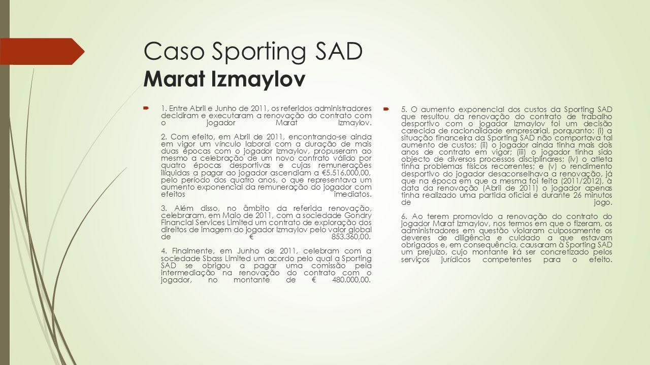 Caso Sporting SAD Marat Izmaylov  1. Entre Abril e Junho de 2011, os referidos administradores decidiram e executaram a renovação do contrato com o j