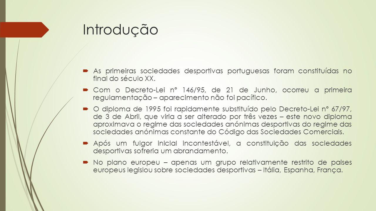 Introdução  As primeiras sociedades desportivas portuguesas foram constituídas no final do século XX.  Com o Decreto-Lei nº 146/95, de 21 de Junho,