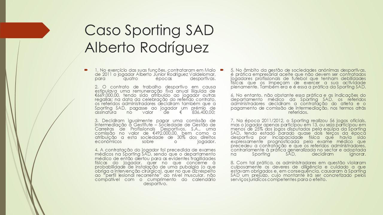 Caso Sporting SAD Alberto Rodríguez  1. No exercício das suas funções, contrataram em Maio de 2011 o jogador Alberto Junior Rodriguez Valdelomar, par