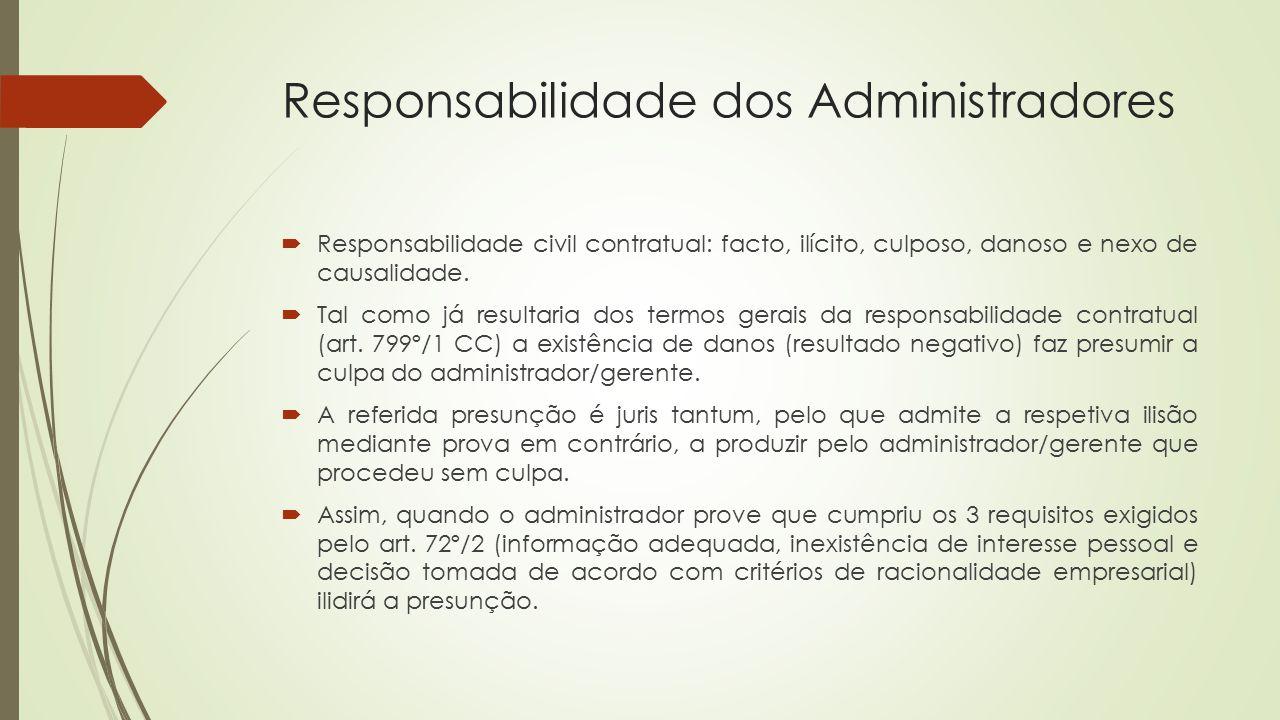 Responsabilidade dos Administradores  Responsabilidade civil contratual: facto, ilícito, culposo, danoso e nexo de causalidade.  Tal como já resulta