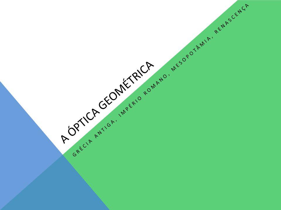 A ÓPTICA GEOMÉTRICA GRÉCIA ANTIGA, IMPÉRIO ROMANO, MESOPOTÂMIA, RENASCENÇA