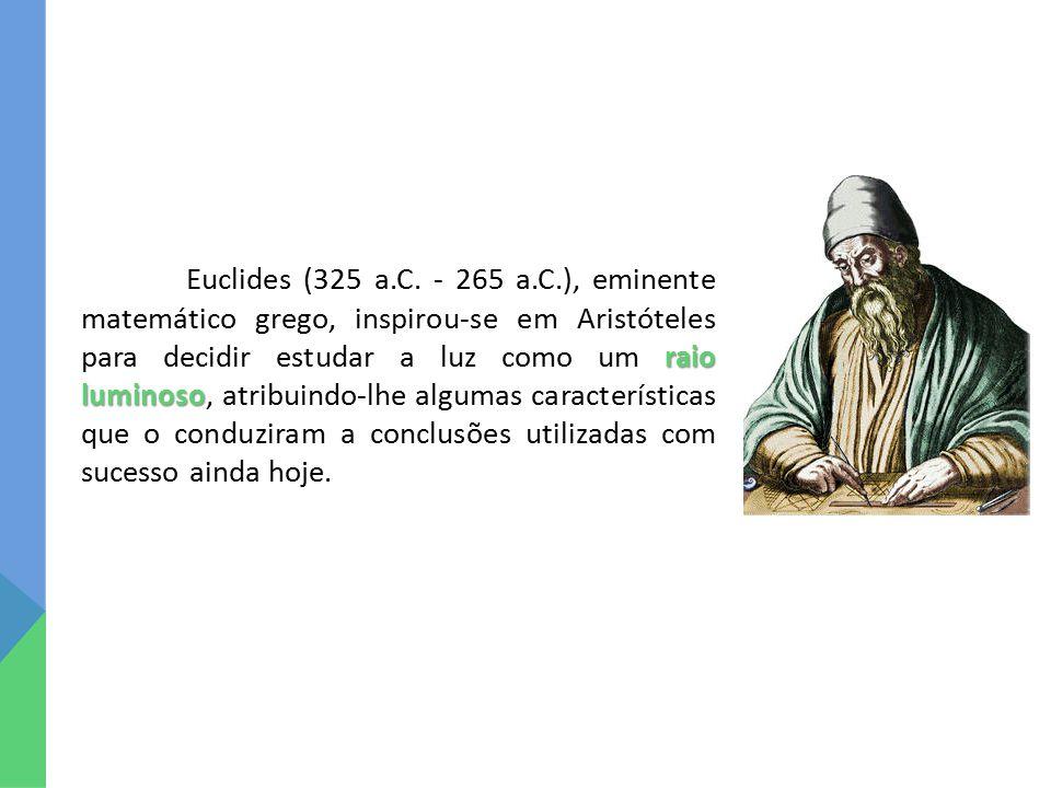 raio luminoso Euclides (325 a.C. - 265 a.C.), eminente matemático grego, inspirou-se em Aristóteles para decidir estudar a luz como um raio luminoso,