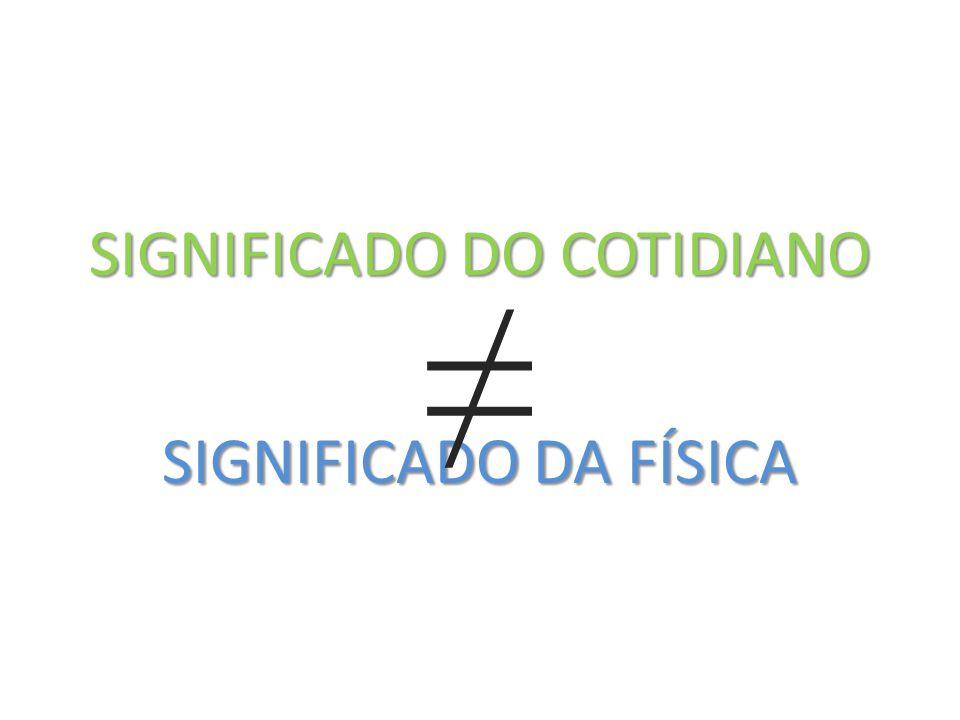 SIGNIFICADO DO COTIDIANO SIGNIFICADO DA FÍSICA ≠